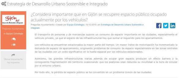 Pregunta tipo participación EIDUS movilidad - Desde Gijón y en bicicleta